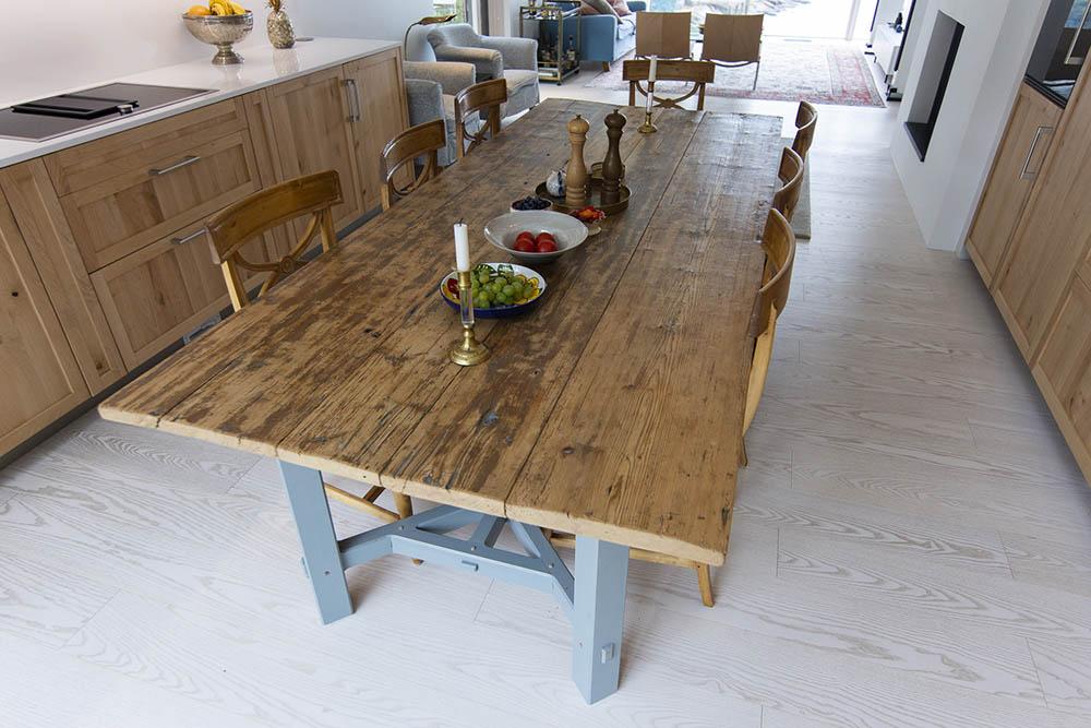 Custom made hayrake kitchen table
