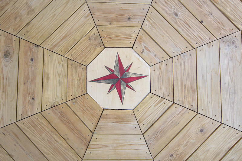 Floor of pavilion by the sea