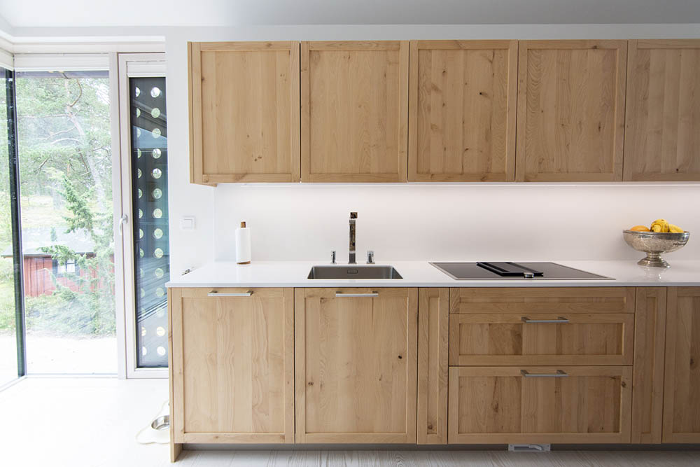 Custom made cabinets interior made with local wood